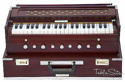 HARMONIUM No.5800r|FOLDING|ROSEWOOD COLOR|A440|MAHARAJA|COUPLER|9STOP|BOOK|AHF-2