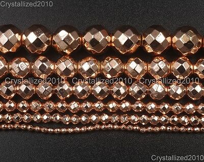 AAA  Natural Rose Gold Hematite Gemstones Faceted Round Beads 4mm 6mm 8mm 16""