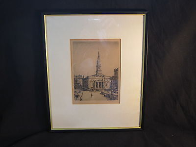 A Nice 1920's Etching Of St Enochs , Glasgow. Signed By Tom Paterson