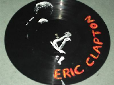Eric Clapton,,, Hand Painted  12 Ins Vinyl Disc  Ready To Hang  1
