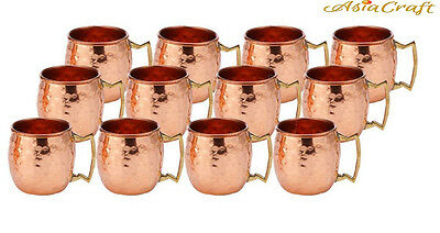 AsiaCraft HAMMERED COPPER MOSCOW MULE 2-OZ MUG SHOTS SET OF 12
