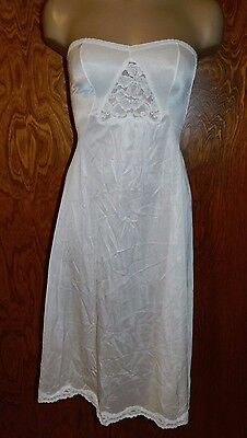 "Vintage NOS ""The Doesn't Slip"" STRAPLESS SLIP A Line Full Length White Size 34"