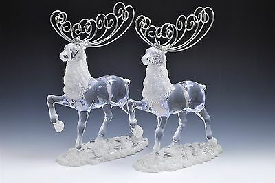 Clear Lucite Silver Reindeer Figurine Holiday Decor Christmas- Set of 2