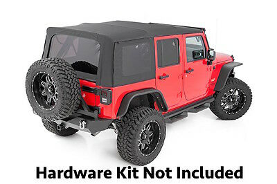 2010-2017 Jeep Wrangler 4 Door Replacement Soft Top with Tinted Windows Black