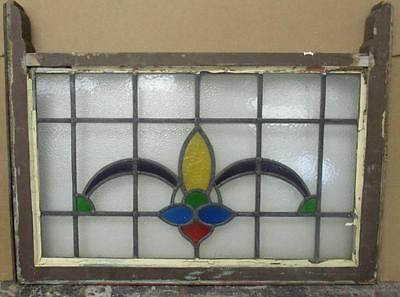 "EDWARDIAN ENGLISH LEADED STAINED GLASS SASH WINDOW Pretty Abstract 30.5"" x 19"""