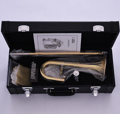 JINBAO Gold Bb Slide Trumpet Bb Soprano Trombone Horn Leather Case Free Shipping