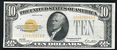 Fr. 2400 1928 $10 Ten Dollars Gold Certificate About Uncirculated