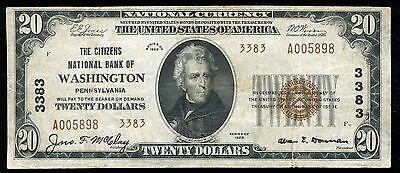 1929 $20 The Citizens Nb Of Washington, Pa National Currency Ch. #3383