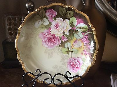 Antique LIMOGES Signed L Burg HandPainted Roses Porcelain Charger 12""