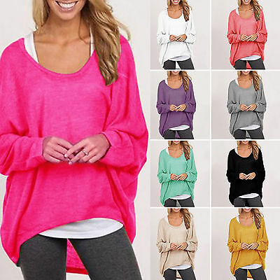 US Plus Size Women's Long Sleeve Loose Blouse Casual Shirts Summer Tops T-Shirts