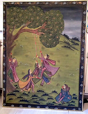 Antique very rare Mughal india fabric painting large