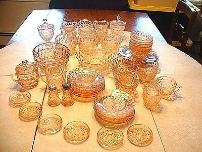 """57 Pieces of Jeannette Glass Co. Cube Cubist"""" Pink Depression Glass"""
