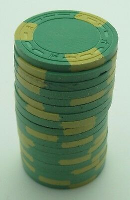 """Set of 20 ASM Casino Style """"A"""" Mold Clay Chips Lt-Green/Yellow Inserts FREE SHIP"""