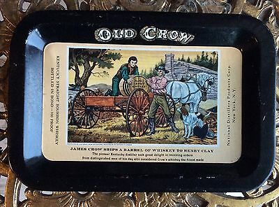 Vintage Old Crow Whiskey Advertising Tin Tip Tray