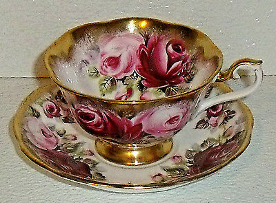 Royal Albert Cup And Saucer SUMMER BOUNTY SERIES Ruby Vtg Heavy Gold