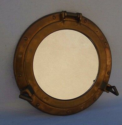 "Vintage 11 1/4"" Brass Porthole Mirror Maritime Nautical Steampunk Sailing Ship"