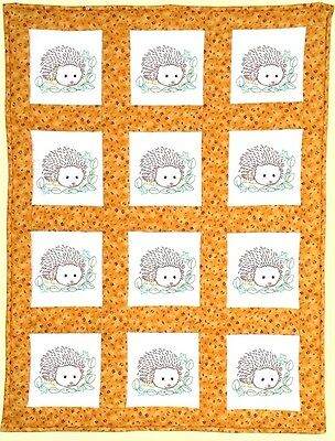 "Jack Dempsey Stamped Embroidery Pack 12 Quilt Blocks 9"" ~ HEDGEHOGS #733-861"