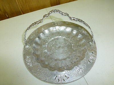 """Gorgeous Etched Silverplated Serving Tray With Folding Handle 11"""" Round"""