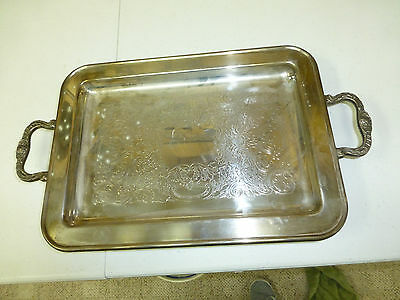 """Vintage Large Rectangular Silverplated, Footed Serving Tray with Handles 17"""" x 9"""