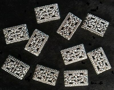 Metal Spacers - Rectangle - 3 Holes - Silver - 10 Pieces - New