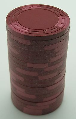 "Set of 20 ASM Casino Style ""A"" Mold Clay Chips Burgundy/Pink Inserts FREE SHIP"