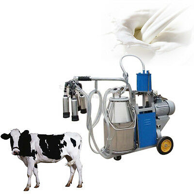 25L Bucket Stainless Steel Milker Electric Milking Machine For Cattle Cow 110V