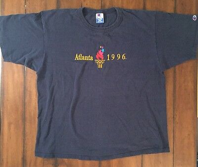 Vintage 1996 Atlanta Summer Olympic Games Graphic Blue T Shirt Champion XL vtg