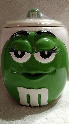 M&M's 2003 Green/White Ceramic Cookie/Candy Jar