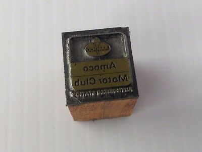 Vintage Amoco Motor Club Authorized Station Letterpress Small Print Block