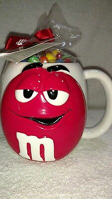 M&M's Oversized White With Red Character Ceramic 3D Raised Round Coffee Mug