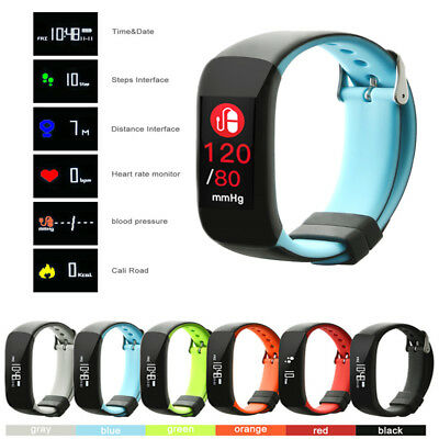 IP67 Fitness Blood Pressure Heart Rate Monitor Smart Watch Sports Wrist Band Lot
