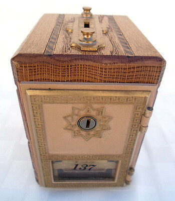 U.s. Post Office Box Vintage Coin Bank Wood & Brass & Glass No Key Needed