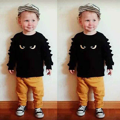 US Stock Toddler Kids Baby Boy Outfits Monster Sweatshirt Tops+Pant 2PCS Clothes