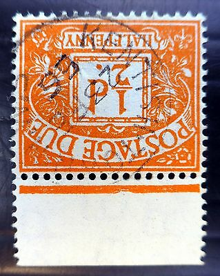 GB 1954 Postage Due ½d Tudor Sideways INVERTED/WMK Fine/Used RARE NB762