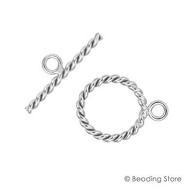 925 Sterling Silver 14mm Solid Twist Toggle Clasps T Bar Round Rings Clasp