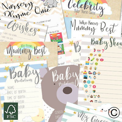 Baby Shower Games - Who knows Mum, Prediction Cards, Mum to be party games