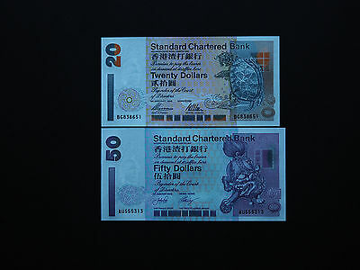 HONG KONG BANKNOTES  $20  &  $50  SET OF TWO   p285, p286    SC BANK    MINT UNC