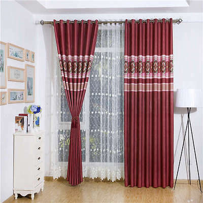 Red Yin Yang Flowers Digital Printing Blockout Photo Curtains Drape Sheer Fabric