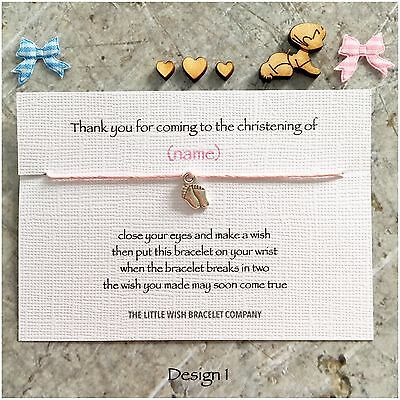 CHRISTENING Personalised Thank You Wish Bracelets Favours BAPTISM, Naming Gift
