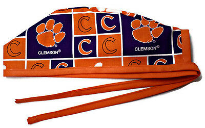 Men's Unlined Surgical Scrub Hat  in Clemson Tigers
