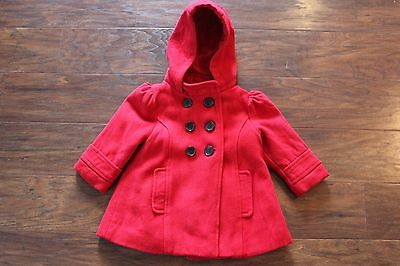OLD NAVY Girls Red Pea Coat Size 12 - 18 Months Wool Blend