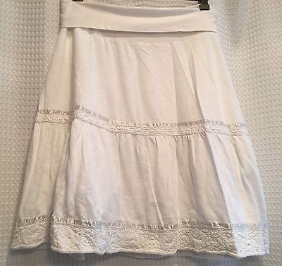GAP Maternity~Peasant Skirt~Sz S Small~White~Cotton~Panel Waist~Lined~Summer!