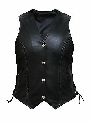 New Motorcycle Biker Soft Leather Vest Waistcoat Ladies Women BLACK Super Soft