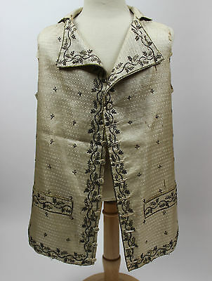 Gentlemen's 18th Century Silk Waistcoat with Metallic Sequins and Embroidery