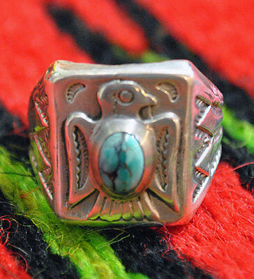 Thunderbird Silver and Turquoise ring sz.9 California silver Made in Canada new