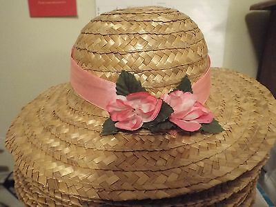 Young lady kids Girls Easter hat Natural color straw w/ pink flowers and ribbon