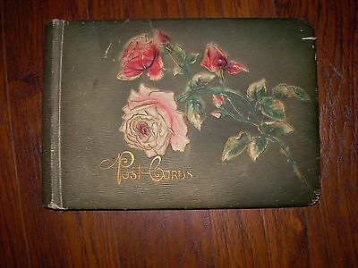 Antique Post Card Album Leather Pink Roses Shabby W/ 19 Post Cards Trains & Ship