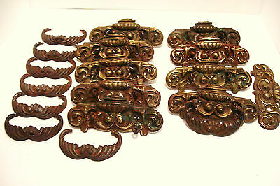 Set of 8 Brass and Iron Drawer Pulls Ornate Victorian Antique Need Restoring