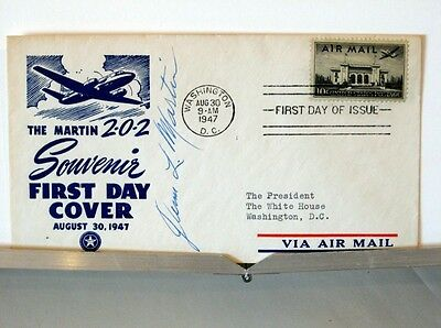 Martin 202 President White House DC First Day Cover Signed Glenn L. Martin RARE