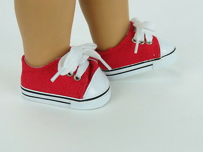 """Red Sneakers Fits 18"""" American Boy or Girl Doll Clothes Shoes"""
